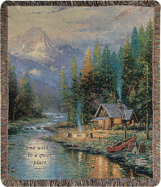 The End of a Perfect Day II by Kinkade Tapestry Throw