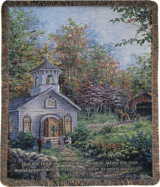 Worship in the Country Tapestry Throw