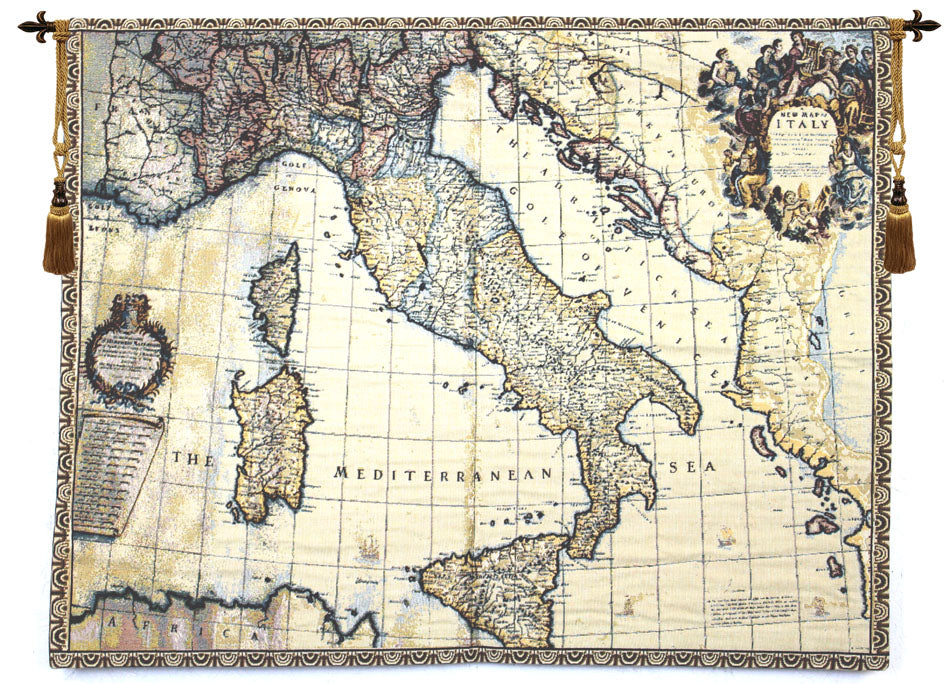 Ancient map of Italy Italian Tapestry Wallhanging