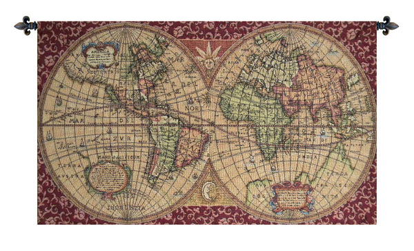 Old Map of the World Red