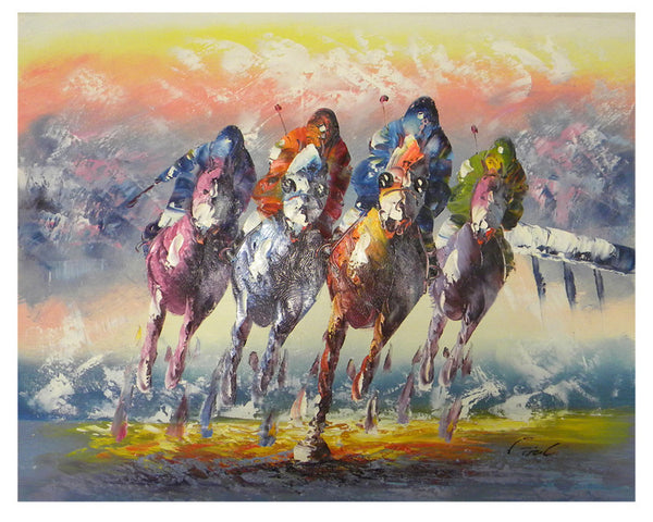 Horse Race Canvas Wall Art