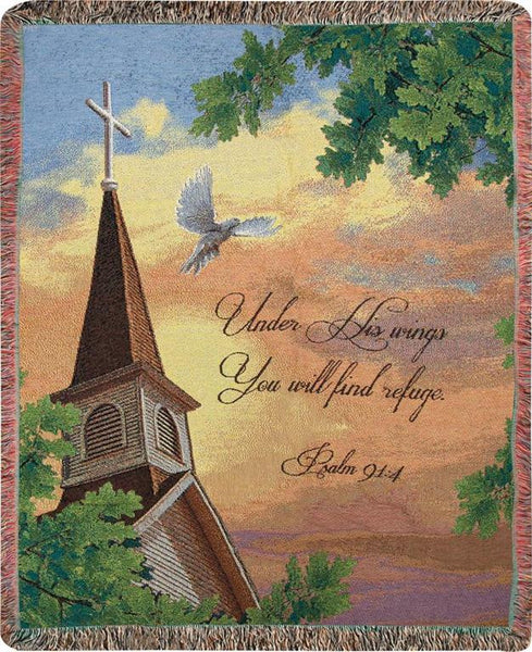 Under His Wings You Will Find Refuge Tapestry Throw