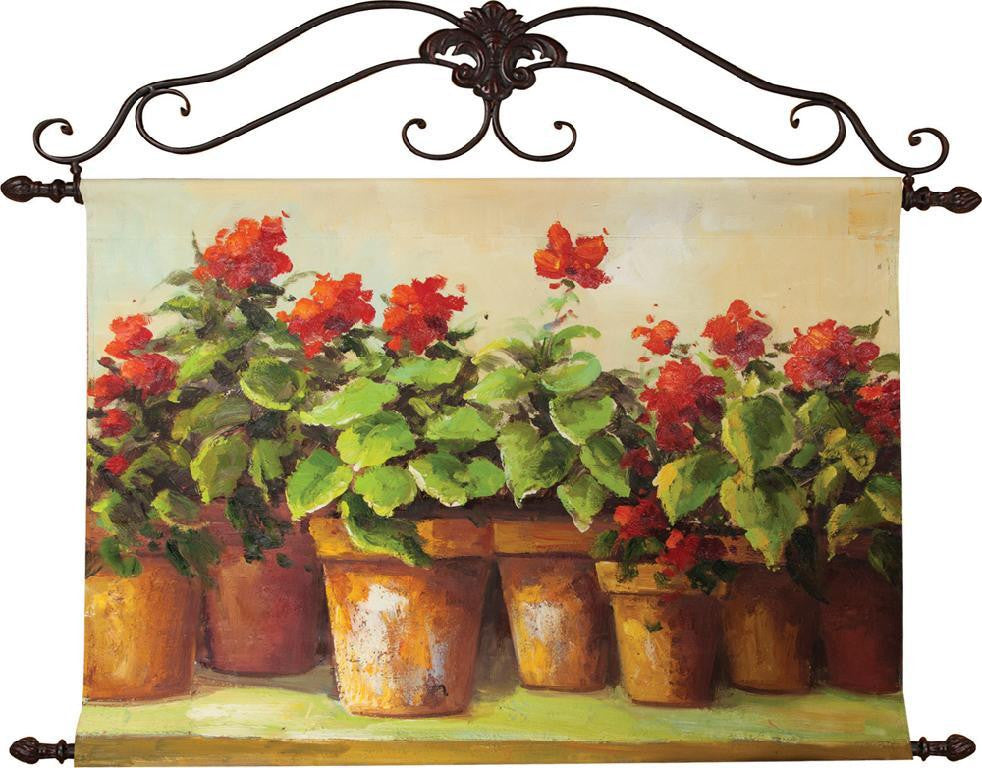 Red Flowers in Pot Oil Painting