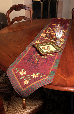 Mediterranean Roosters Table Runner Tapestry Table Runner