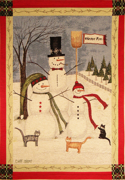 Winter Fun Fine Art Tapestry