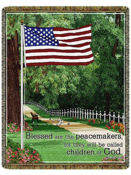 Blessed Are The Peacemakers Tapestry Throw