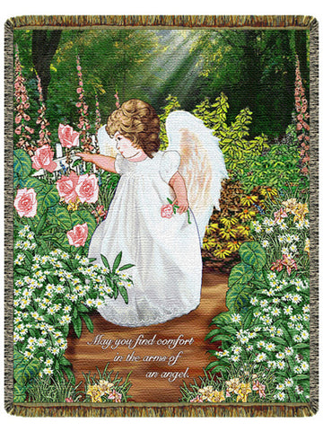 Comfort in the Arms of an Angel Tapestry Throw