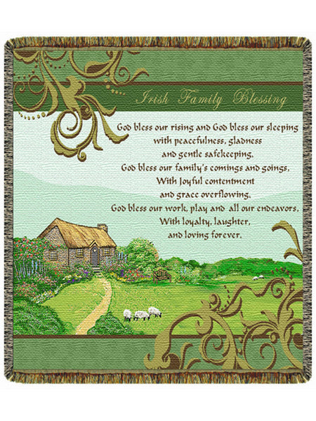 Irish Family Blessing Tapestry Throw
