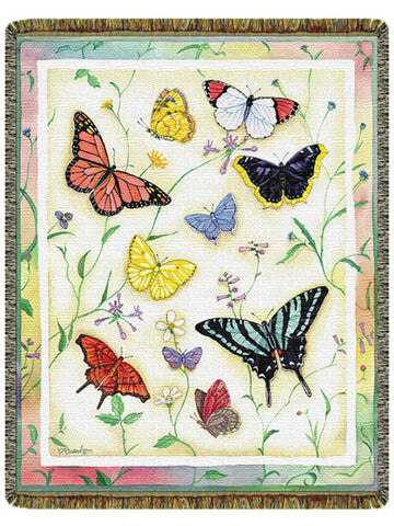 American Butterflies Tapestry Throw