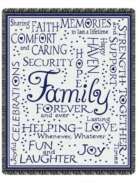 Family Collage Navy Tapestry Throw