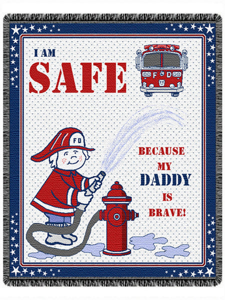 Daddy Fireman Tapestry Throw