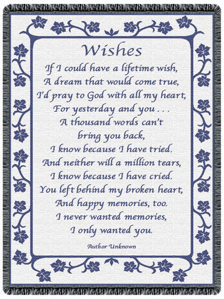 Wishes Blue Tapestry Throw