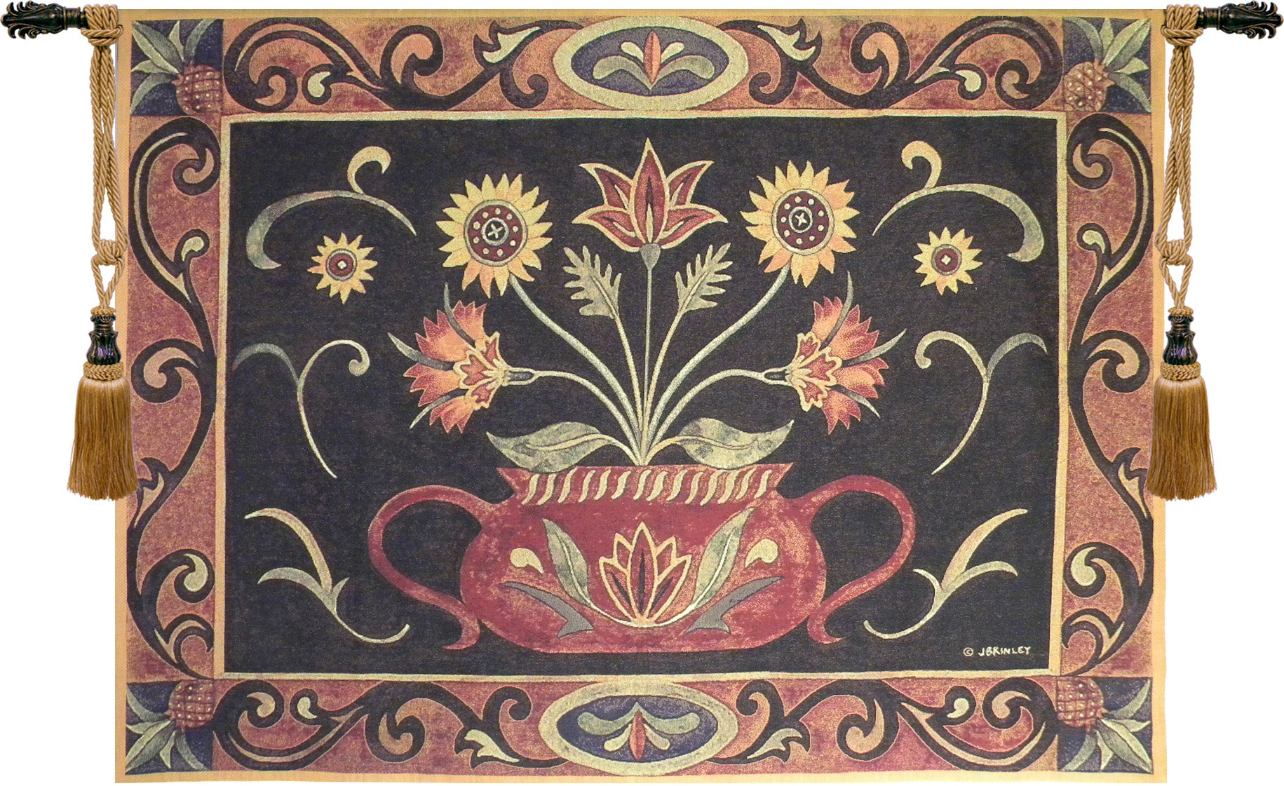Folk Art Potted Flowers Tapestry Wall Art