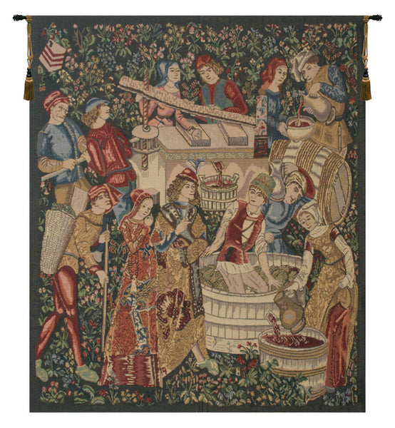 Vendages Left Side Red Belgian Tapestry