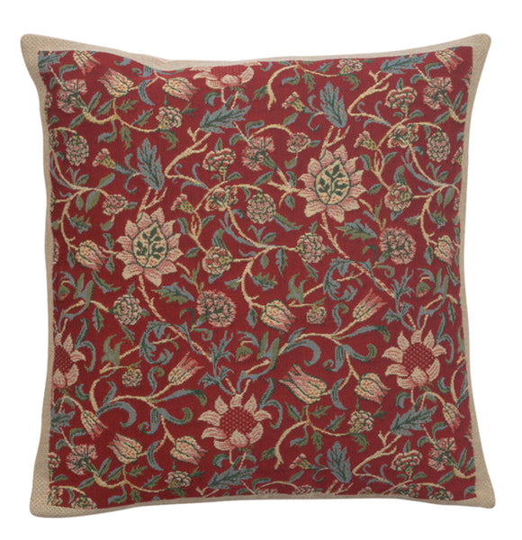 Fleurs de Morris Red Belgian Cushion Cover