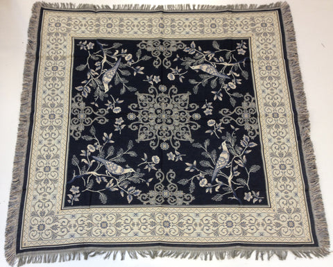 Birds on Blue  European Throw