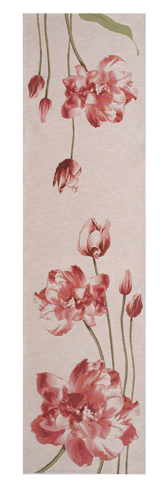 An Armful of Red Tulips White  French Tapestry Table Runner