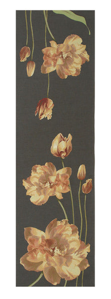 An Armful of Yellow Tulips Grey  French Tapestry Table Runner