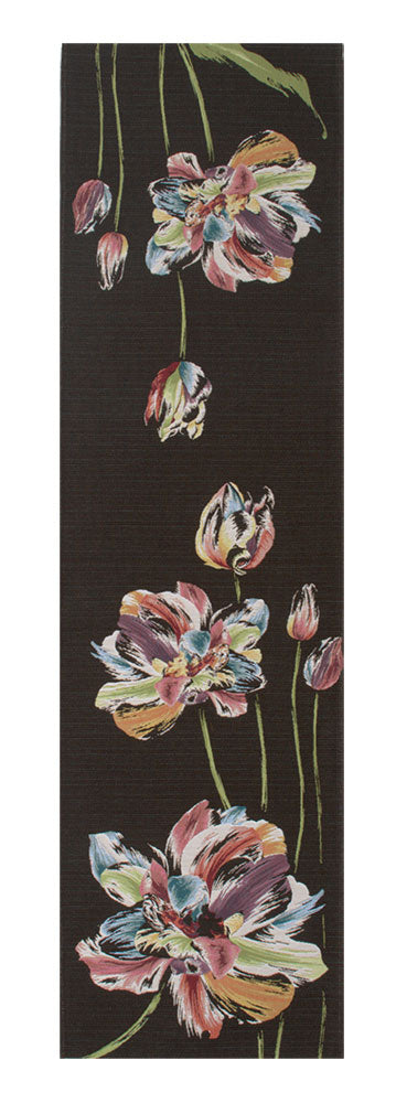 An Armful of Multicolored Tulips Black