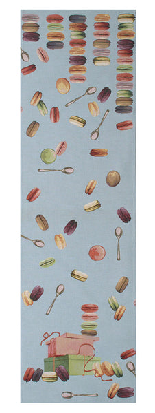 Macaroons Blue  French Tapestry Table Runner