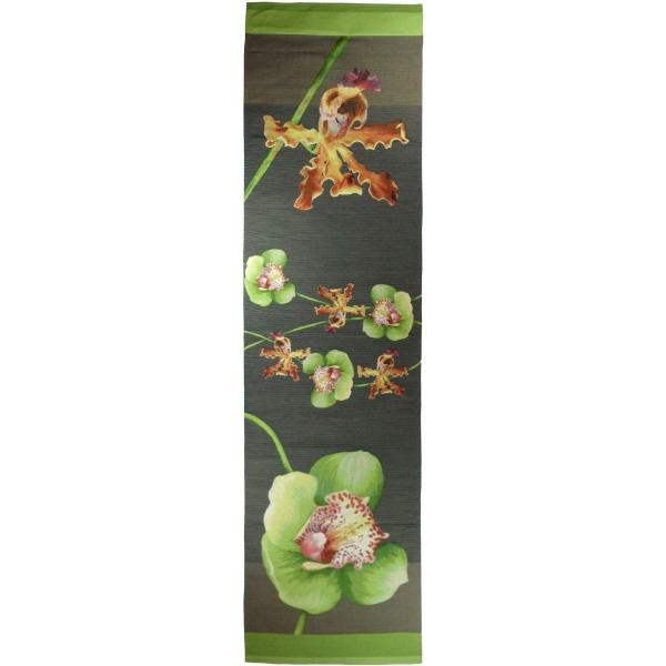 Orchids Gray  French Tapestry Table Runner