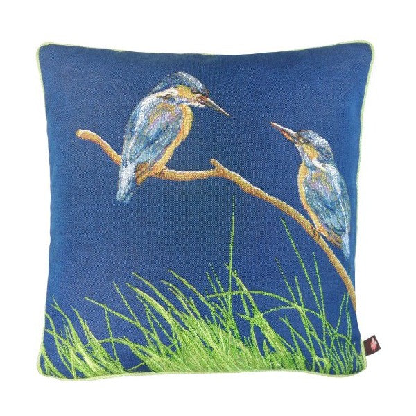 Two Kingfishers Blue French Tapestry Cushion