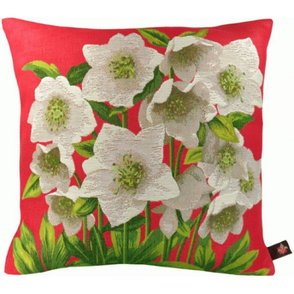 Helleborus Red  French Tapestry Cushion