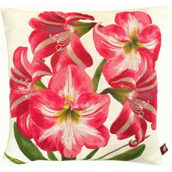 Amaryllis 5 Flowers White  French Tapestry Cushion