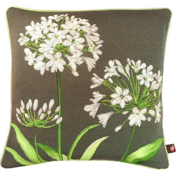 Agapanthus 3 Flowers Grey  French Tapestry Cushion