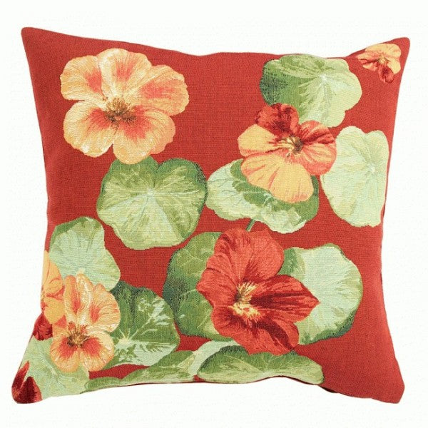 Nasturtium Red I French Tapestry Cushion