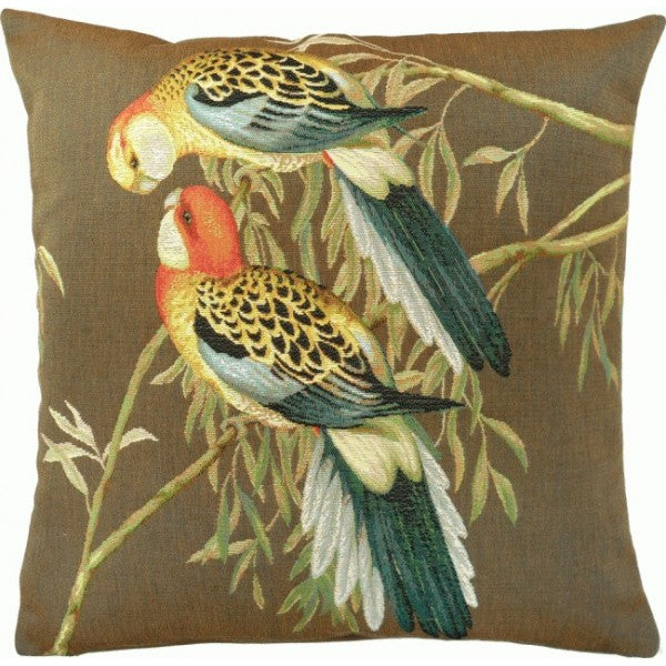 Two Parakeets Grey French Tapestry Cushion