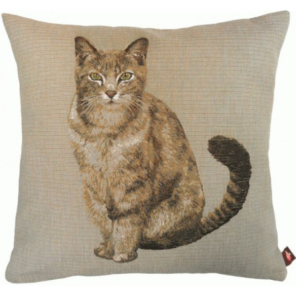 Tabby Cat Sitting Light Grey  French Tapestry Cushion