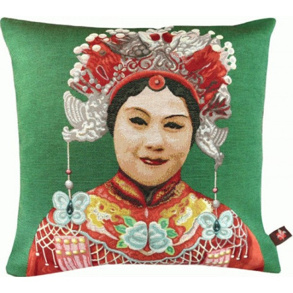 Chinese Woman Green  French Tapestry Cushion
