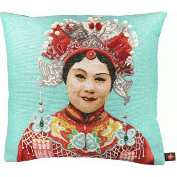 Chinese Woman Blue French Tapestry Cushion