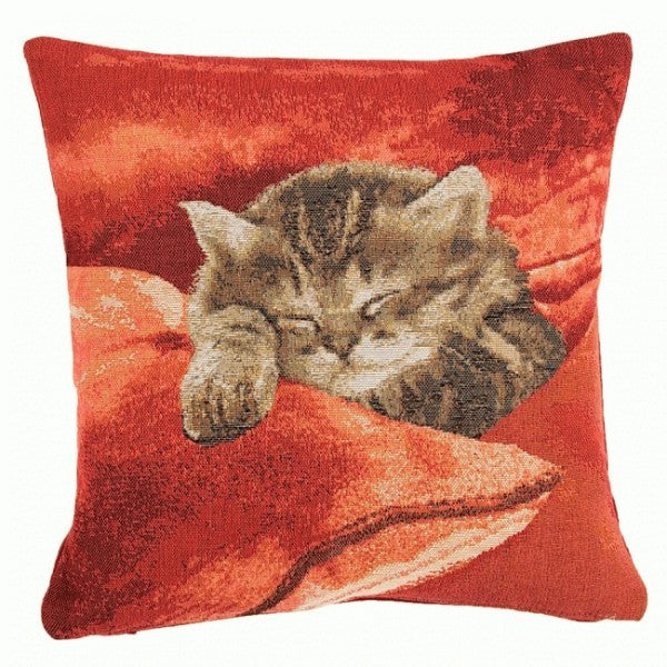 Sleeping Cat Red 2 French Tapestry Cushion