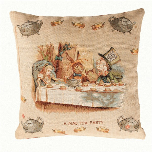 The Tea Party Alice In Wonderland I French Tapestry Cushion
