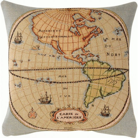 Map of Americas 1 French Tapestry Cushion