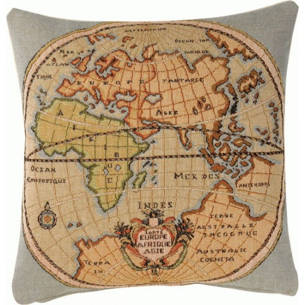 Map of Europe Asia and Africa French Tapestry Cushion