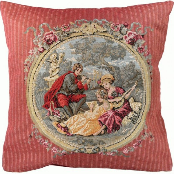Romantic Music in Pink French Tapestry Cushion