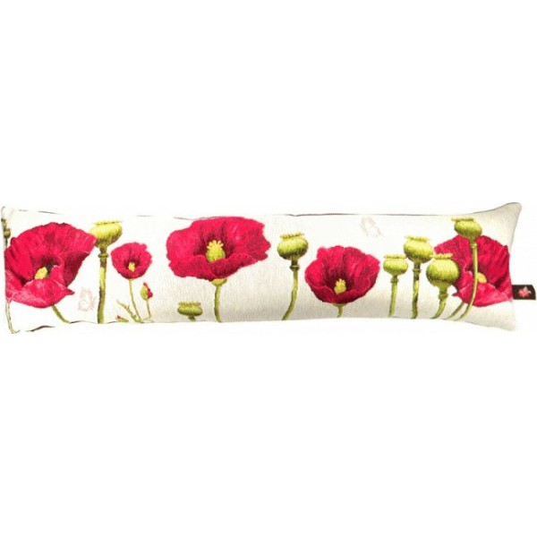 Poppies in White French Bolsters