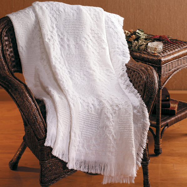 Basketweave Heart White Tapestry Throw