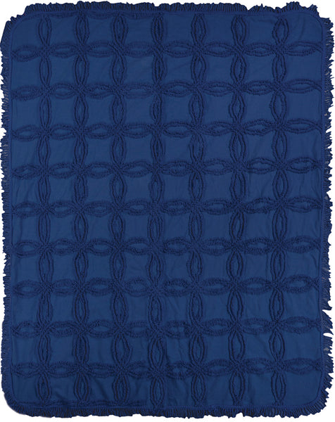 Vintage Tufted Navy Tapestry Throw