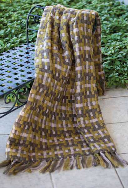 Indoor/Outdoor Woven Plaid Sage Tapestry Throw