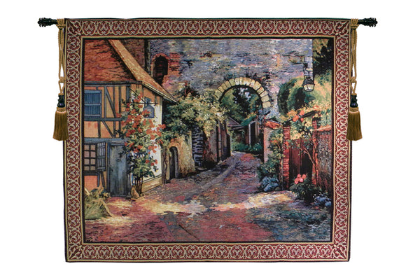 Peaceful European Alley Tapestry Wall Art