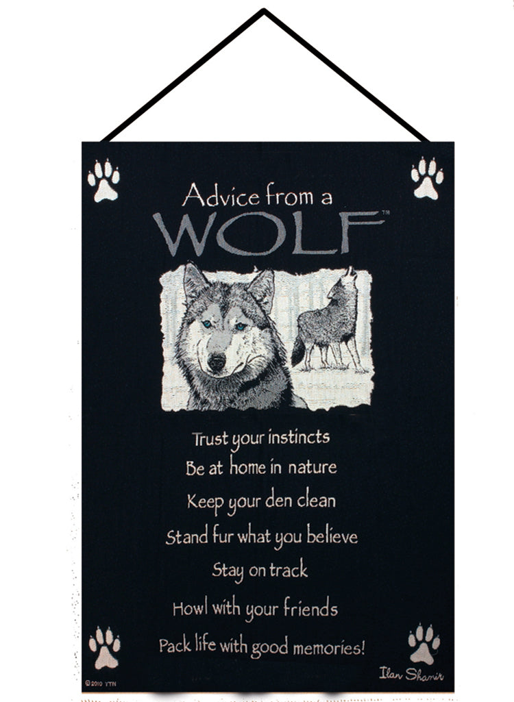 Advice From a Wolf I Tapestry Wall Hanging