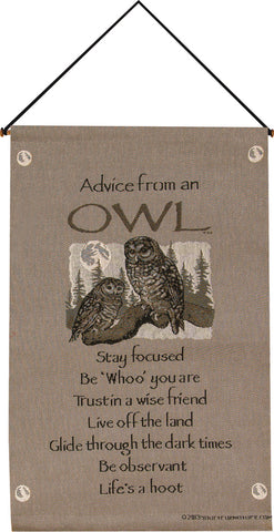 Advice From An Owl Tapestry Wall Hanging