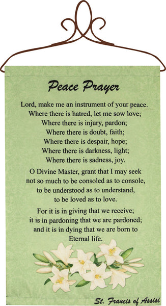 Peace Prayer Tapestry Wall Hanging