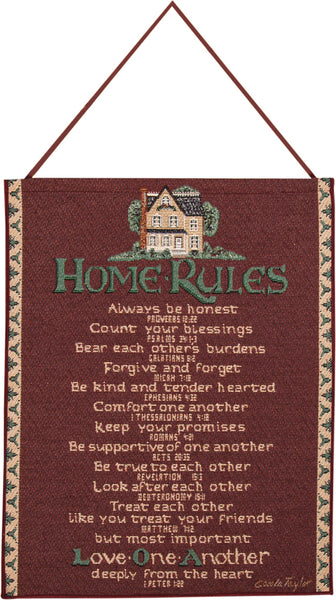 Home Rules Red Bannerette Fine Art Tapestry
