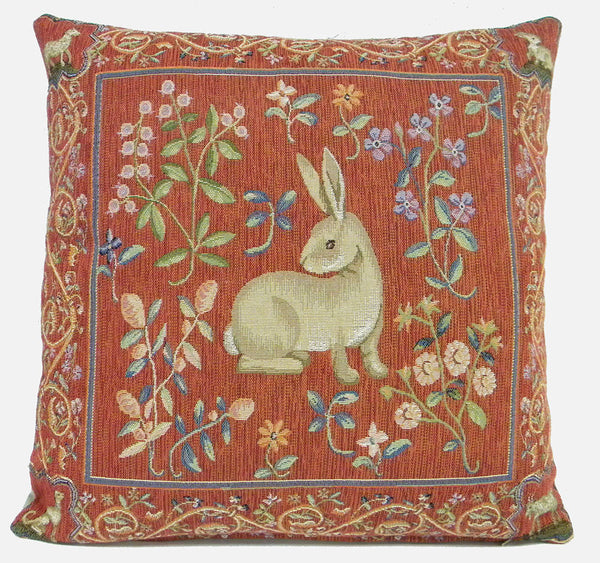 Medieval Rabbit I French Tapestry Cushion