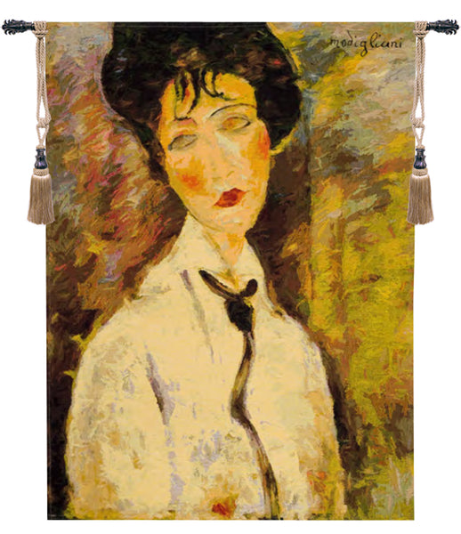 Woman With a Black Tie European Tapestry
